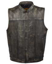 mens distressed brown leather vest front