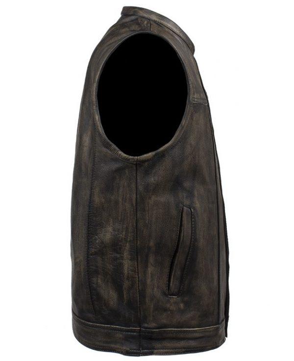mens brown leather vest side