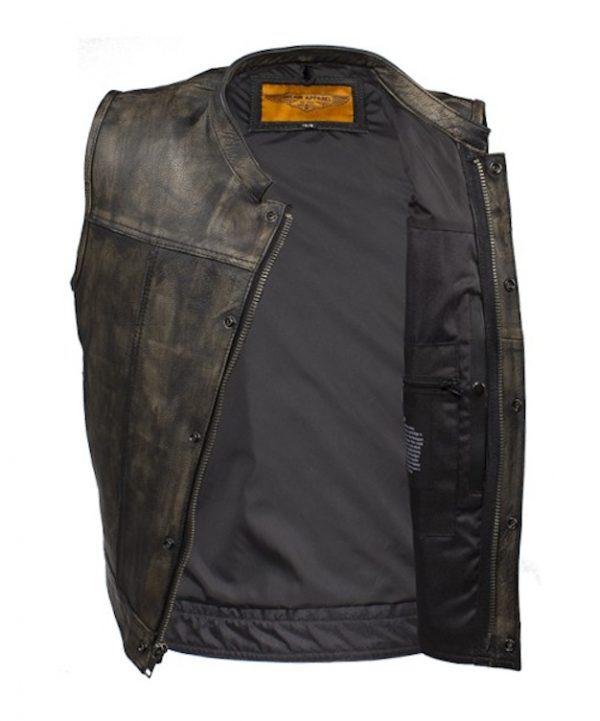 mens brown leather vest open