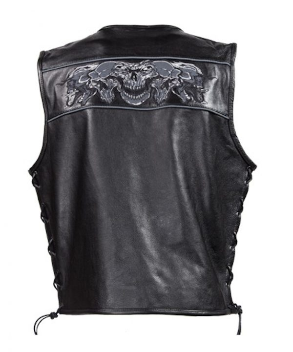 mens leather vest reflective skull