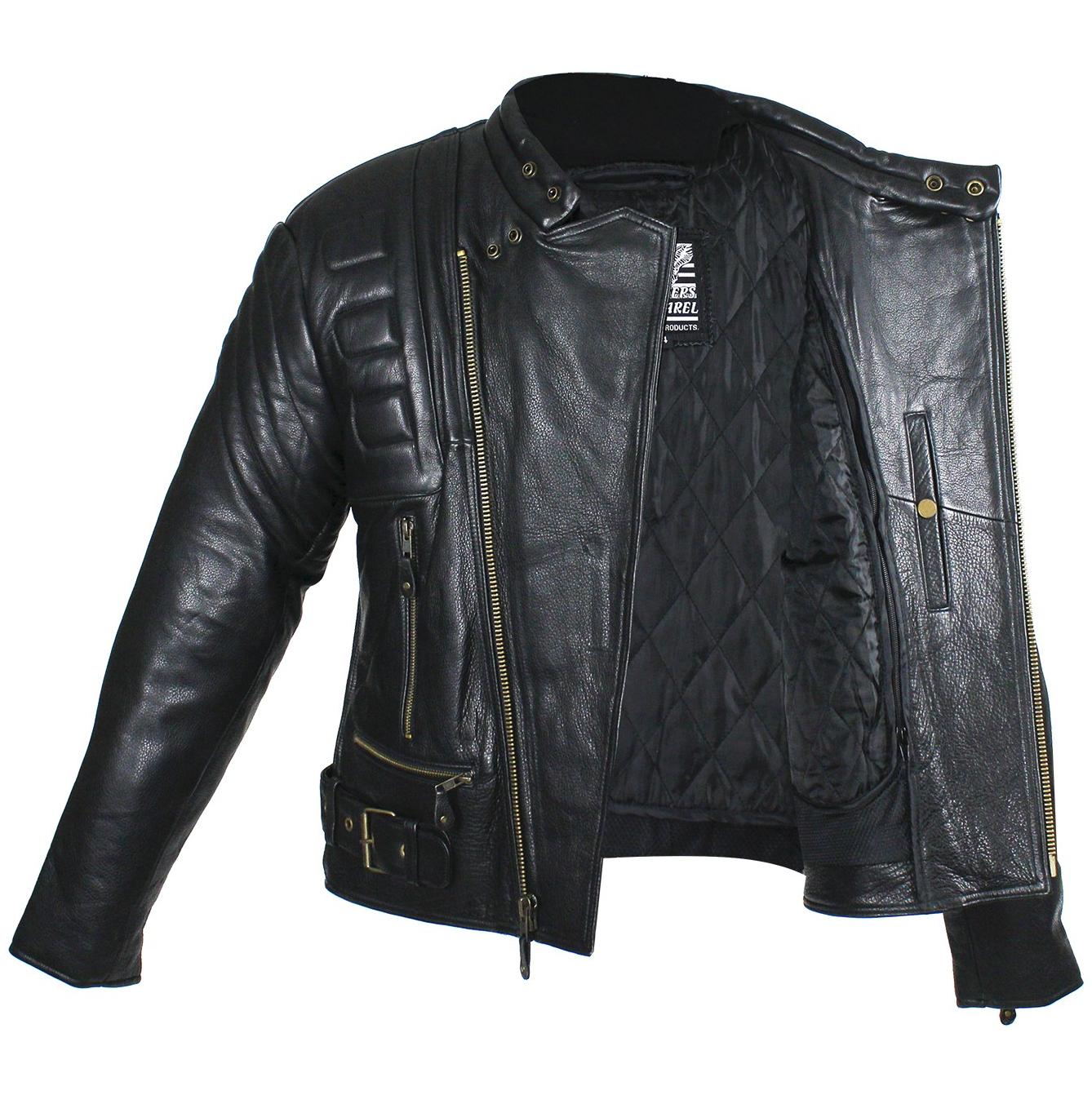 Mens Leather Padded Racer Style Motorcycle Jacket Mlsj19