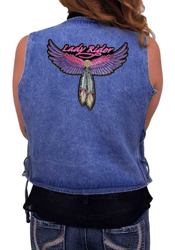 Ladies denim vest with wings patch