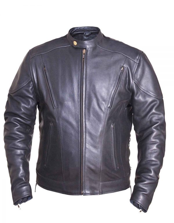 mens naked cowhide leather motorcycle jacket
