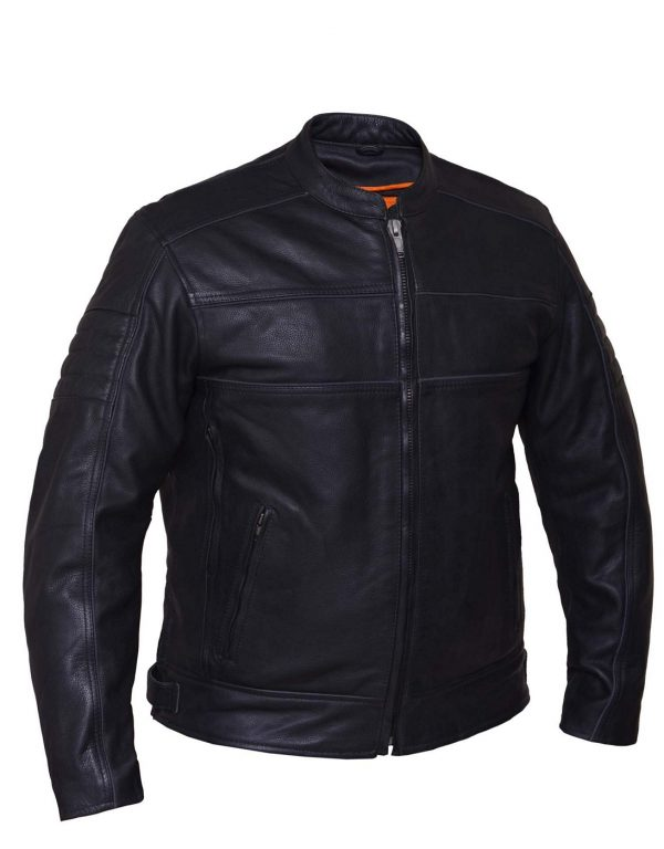 mens cowhide scooter leather jacket