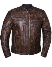 Men's brown naked cowhide leather motorcycle jacket
