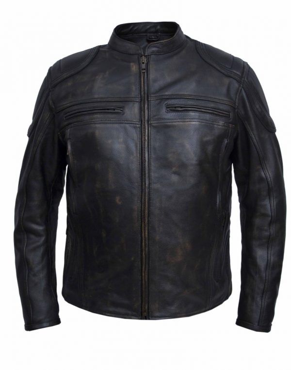 Mens brown motorcycle jacket