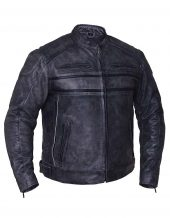 mens striped grey leather motorcycle jacket