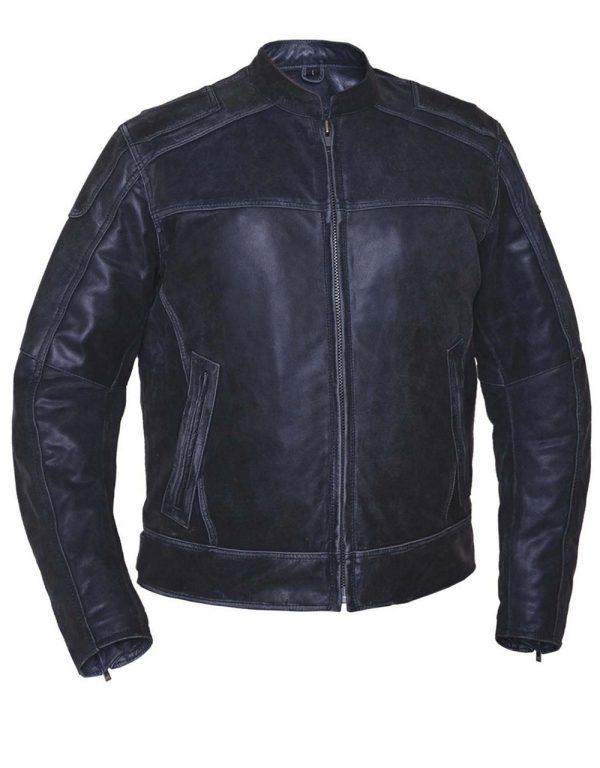 mens grey leather motorcycle jacket