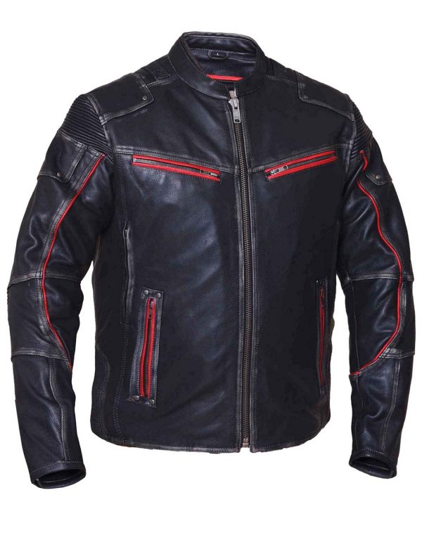 Mens black with red trim leather jacket
