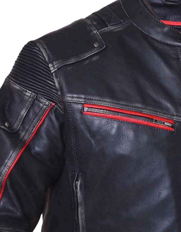 Leather jacket with elastic shoulders and elbows
