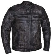 men's Amarillo grey leather motorcycle jacket