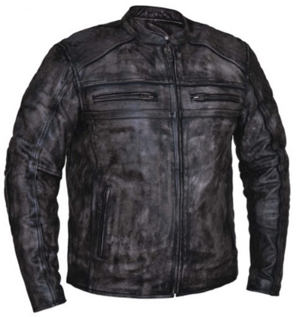 men's Amarillo grey leather motorcycle jacket