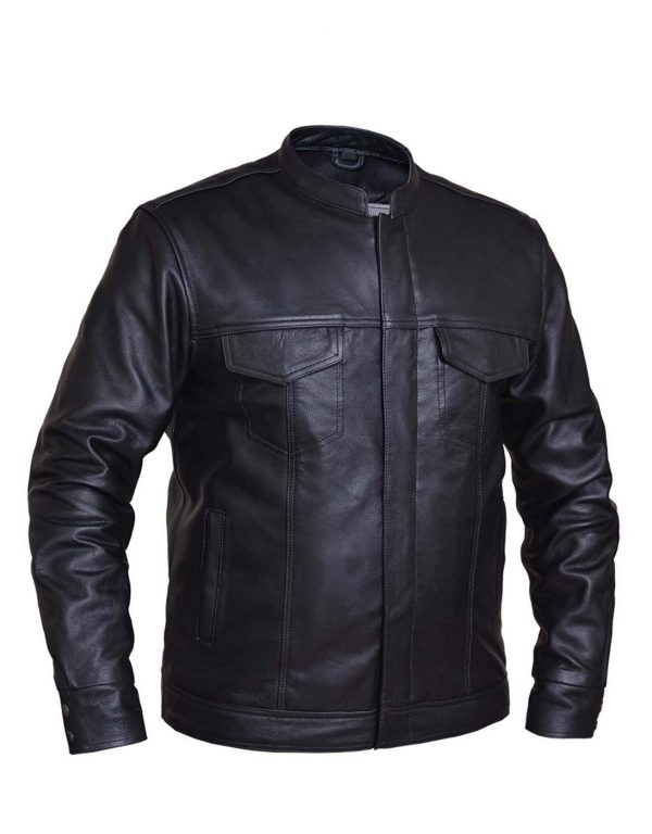 mens cowhide leather scooter jacket