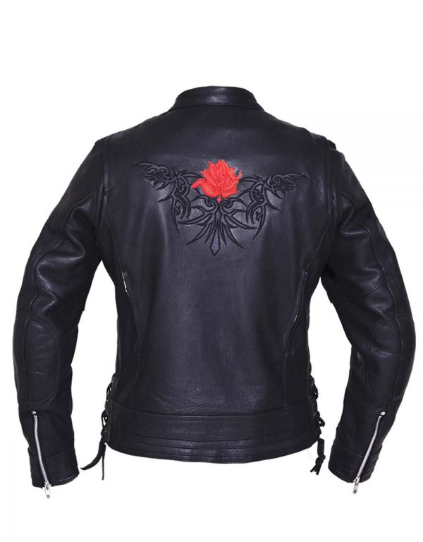 ladies naked cowhide leather motorcycle jacket with reflective tribal rose