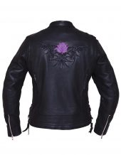 ladies naked cowhide leather motorcycle jacket with reflective rose