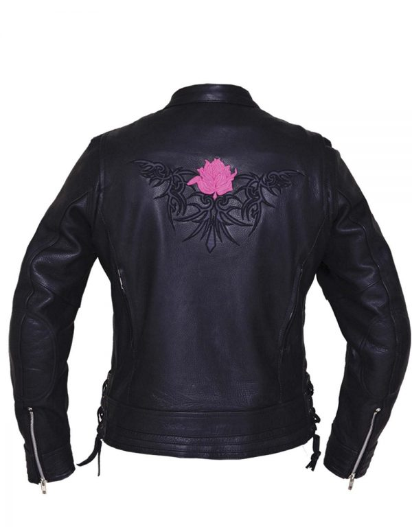 ladies naked cowhide reflective tribal rose leather motorcycle jacket