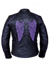 ladies tribal wings and studs cowhide leather jacket