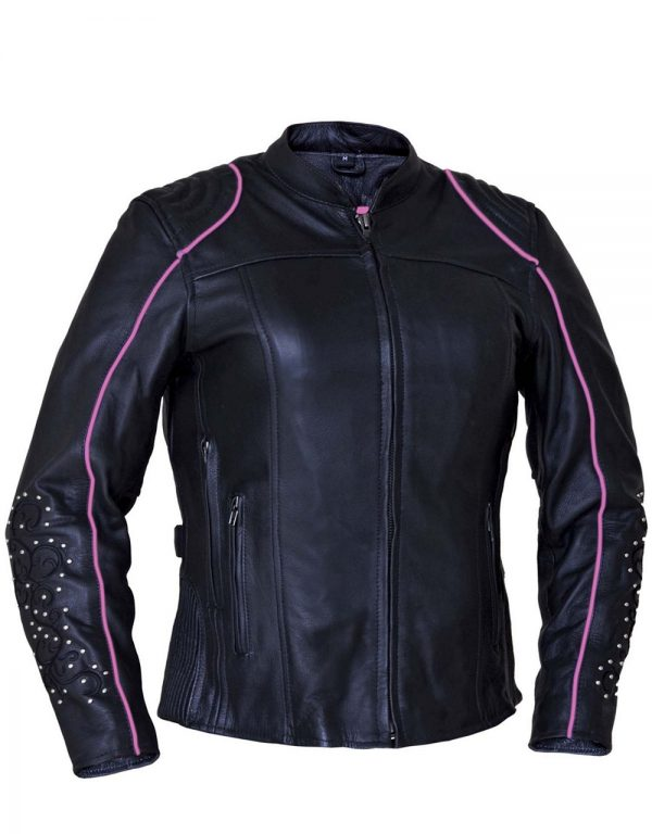 ladies cowhide leather jacket with wings and studs
