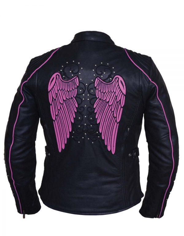 ladies tribal wings and studs cowhide leather jacket