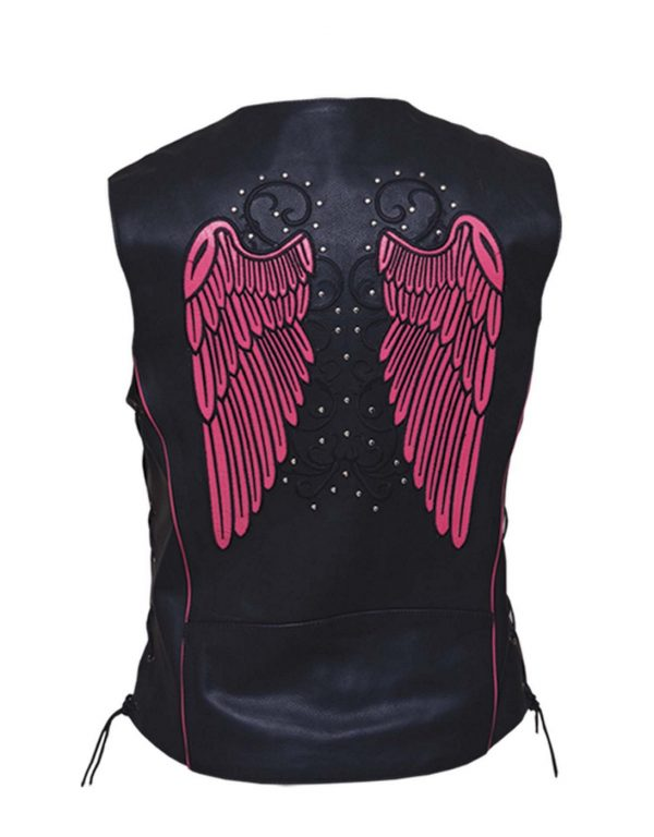 Ladies leather vest with pink wings design