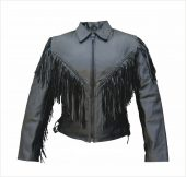 ladies leather jacket with fringe