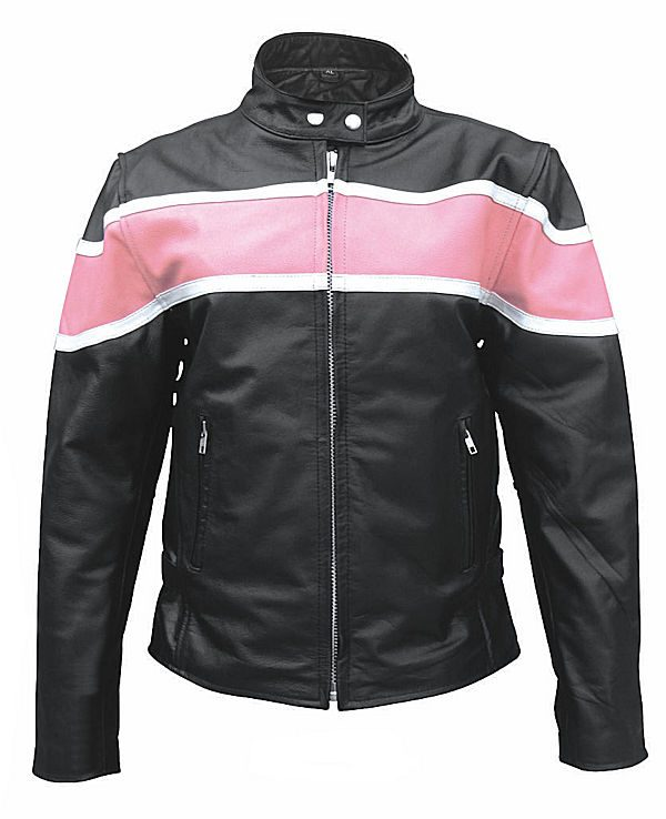 ladies pink two tone leather jacket
