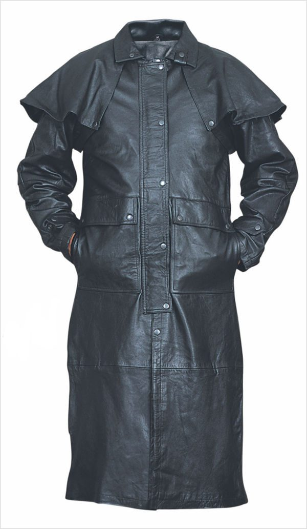 mens black buffalo leather duster