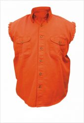 mens orange denim shirt