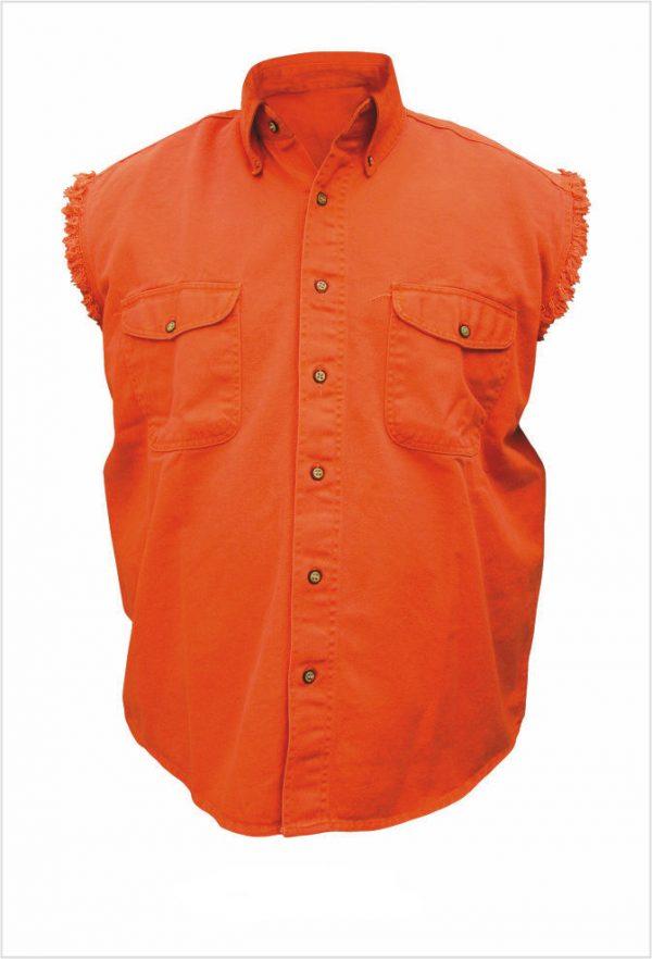 mens orange denim shirt