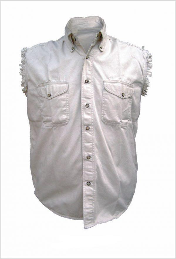 mens white cream denim shirt