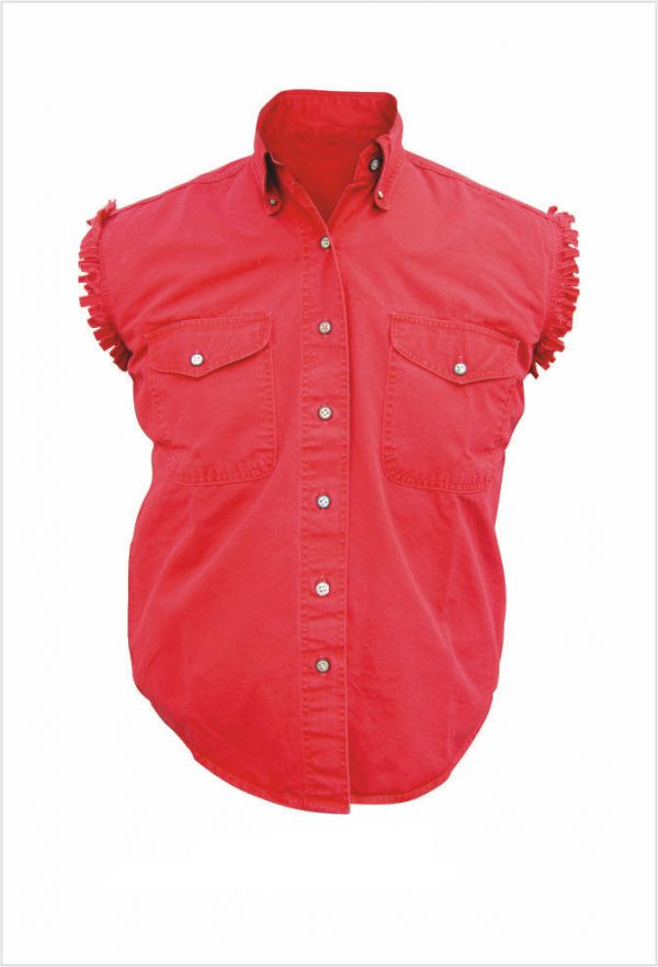 mens red denim sleeveless shirt