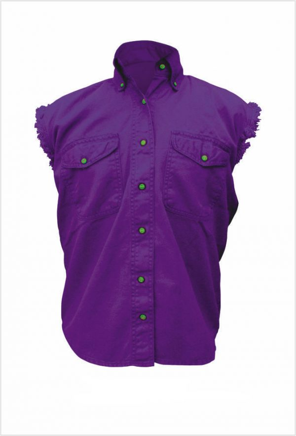 mens purple sleeveless denim biker shirt