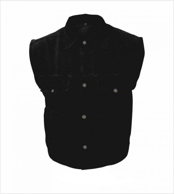 mens black denim vest