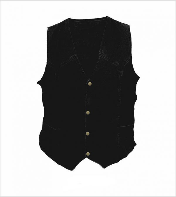 mens black denim vest with side laces
