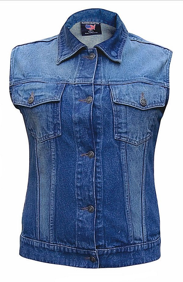 ladies blue denim vest