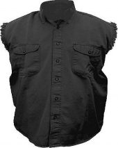 mens black denim shirt
