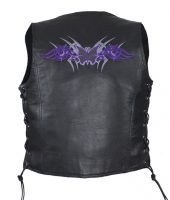 Ladies leather vest with purple butterfly design