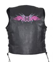 Ladies leather vest with pink butterfly design