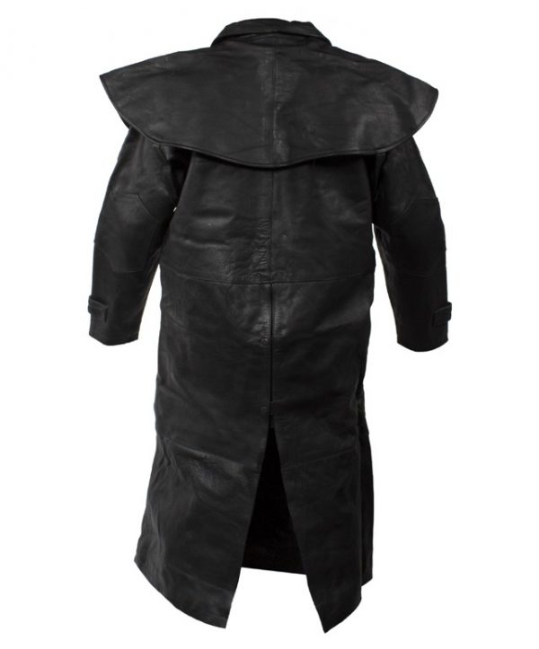 mens cowhide leather duster back
