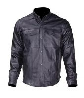 mens cowhide leather shirt front