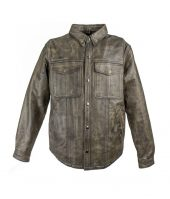 mens distressed brown leather shirt