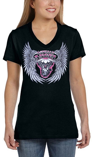 ladies asphalt angel biker t-shirt