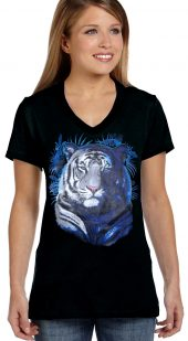 ladies tiger face biker t-shirt