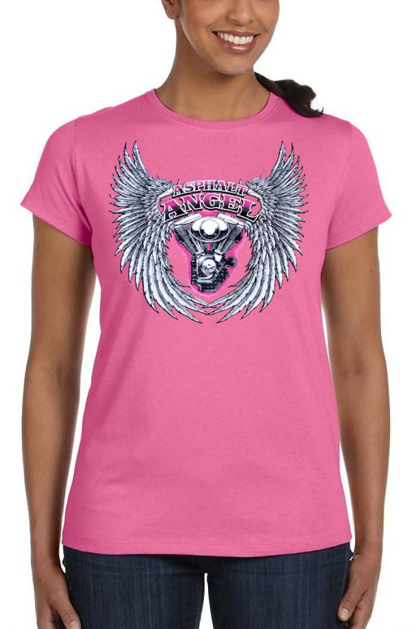 ladies asphalt angel dark pink crew neck biker t-shirt