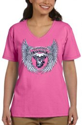ladies asphalt angel v-neck dark pink t-shirt