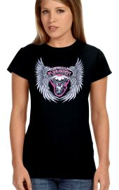 ladies asphalt angel crew neck biker t-shirt