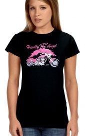 ladies hardly an angel biker t-shirt