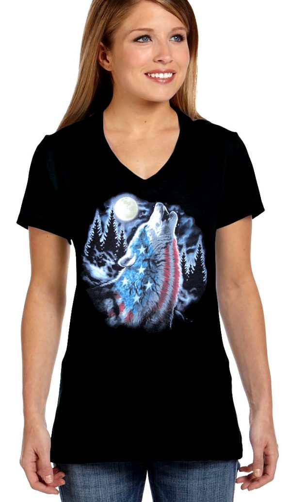 ladies patriotic howling wolf t-shirt