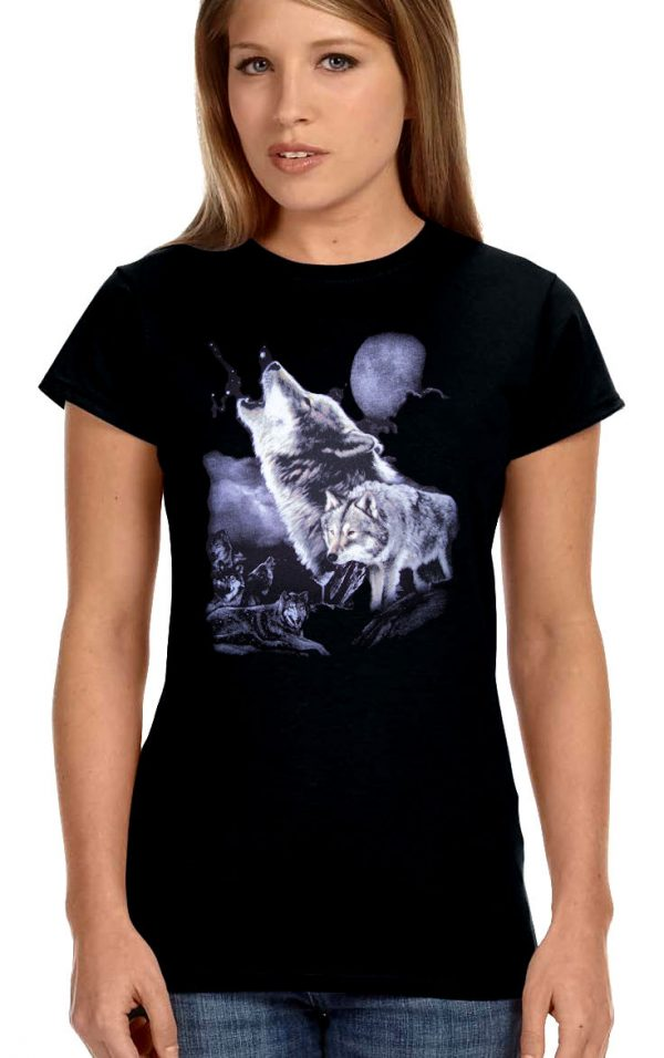ladies wolves biker t-shirt