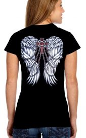 ladies gothic wings crew neck biker shirt